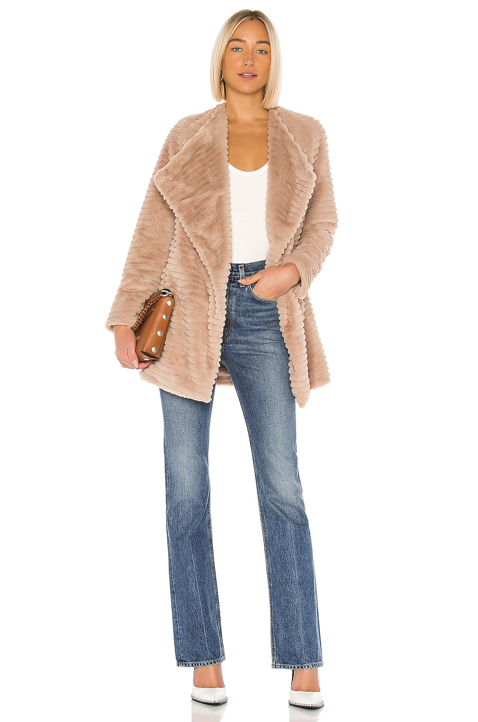 BB Dakota Fab Moment Faux Fur Jacket in Tan