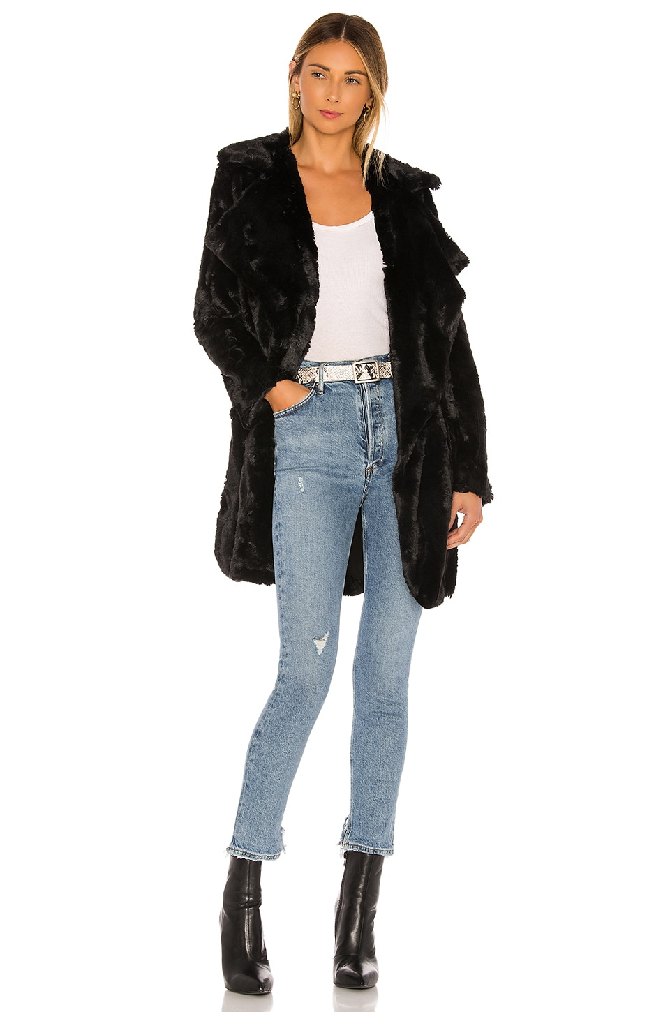 BB Dakota Jack By BB Dakota Shear Factor Faux Fur Coat in Black