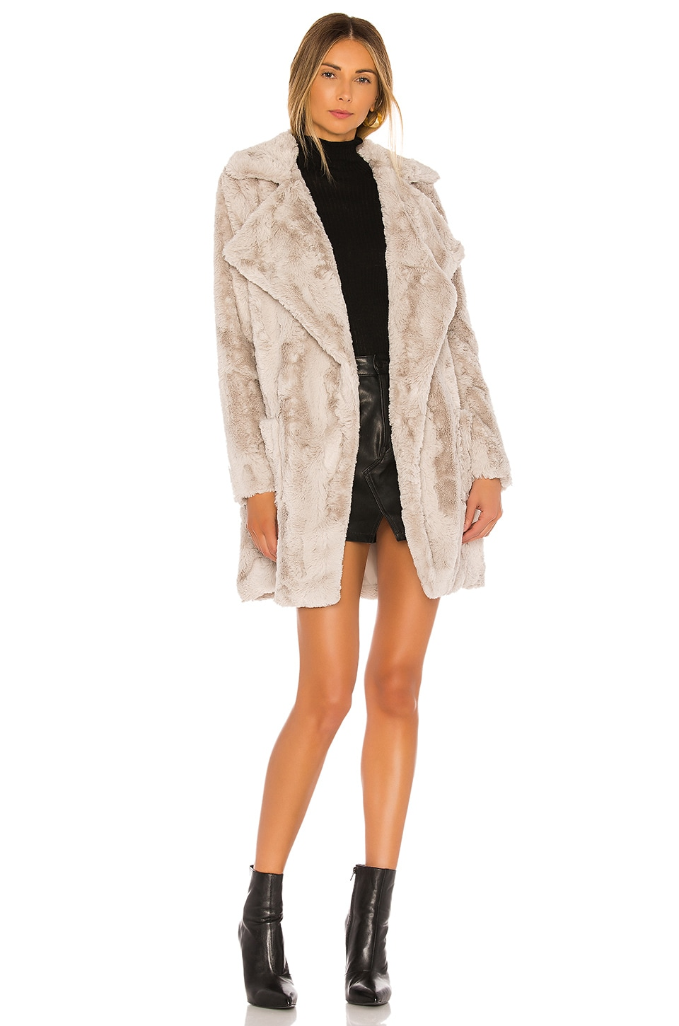 BB Dakota Jack By BB Dakota Shear Factor Faux Fur Coat in Toffee