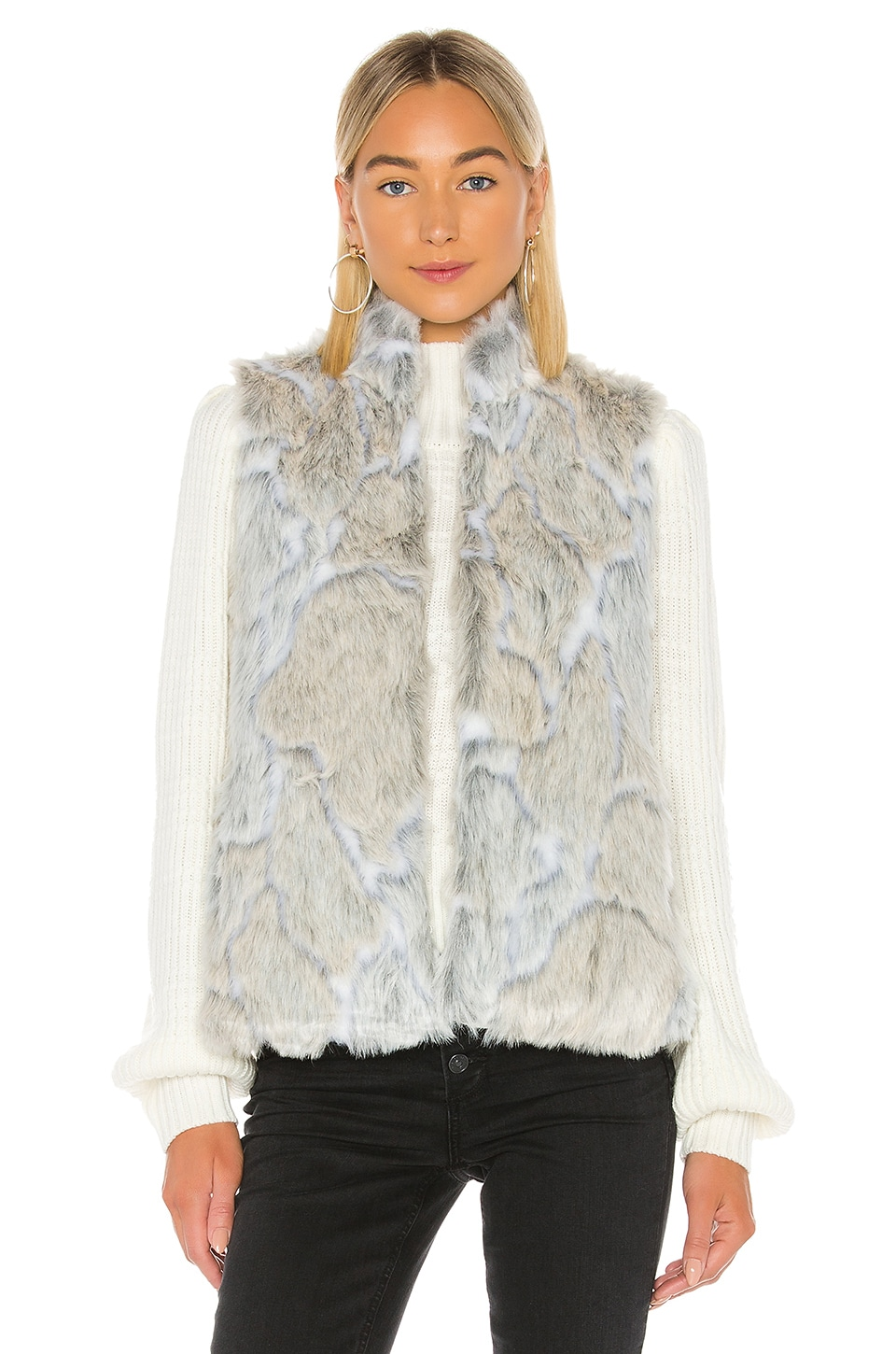 BB Dakota In A Furry Faux Fur Vest in Ivory
