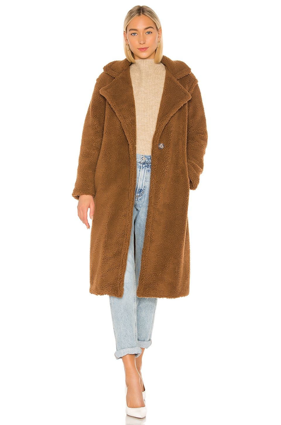 BB Dakota Paddington Teddy Coat in Coco Brown