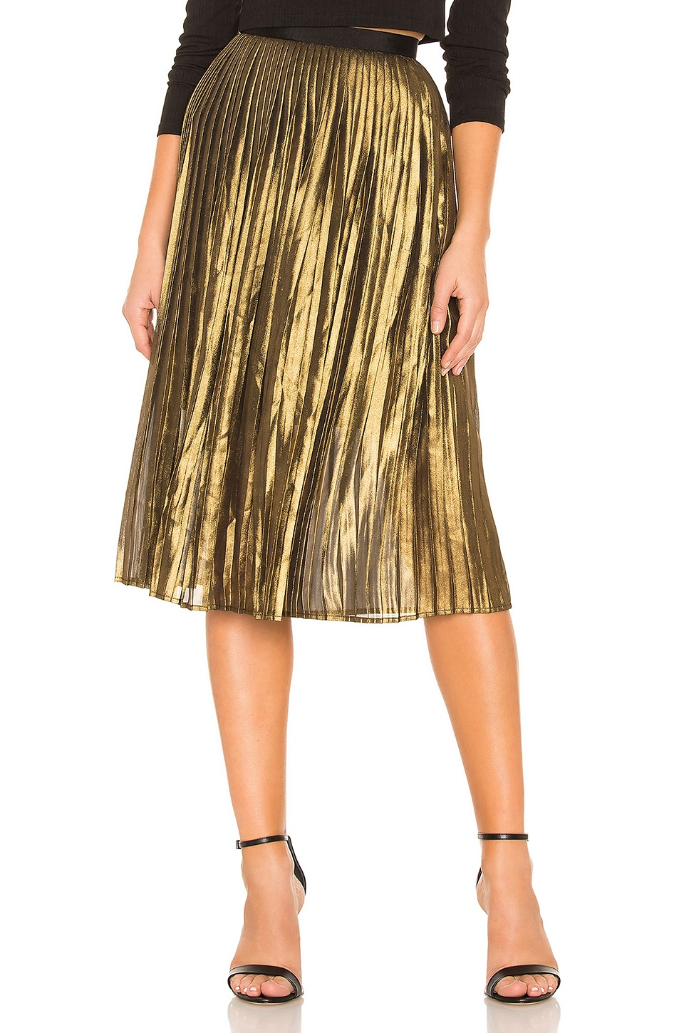 BB Dakota Foil The Trouble Skirt in Gold