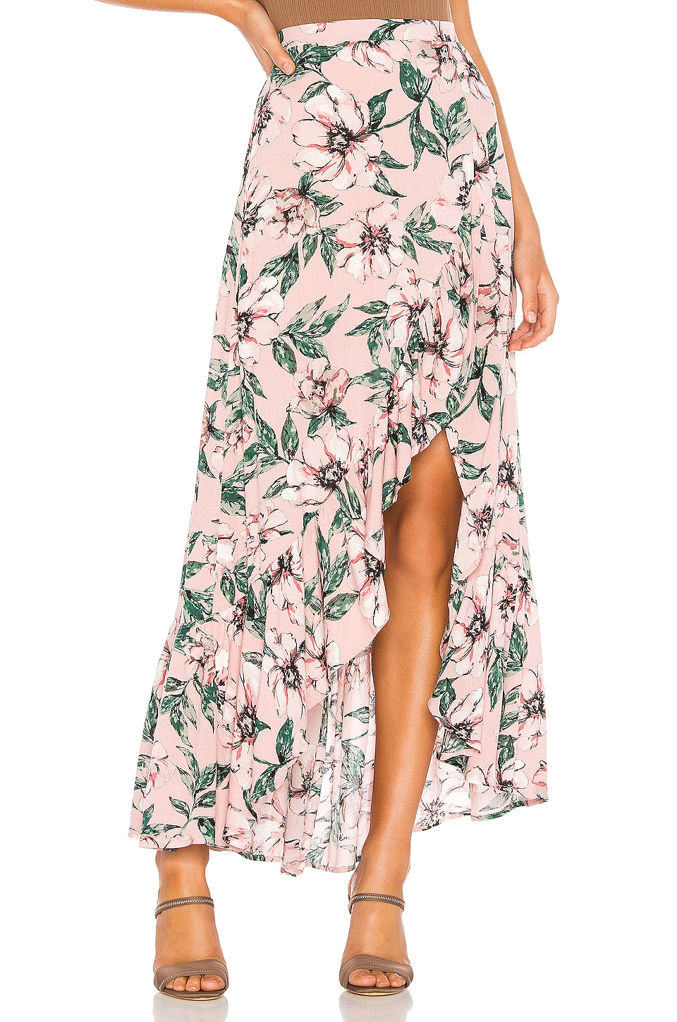 BB Dakota Jack by BB Dakota Haole Wrap Skirt in Rose Dawn