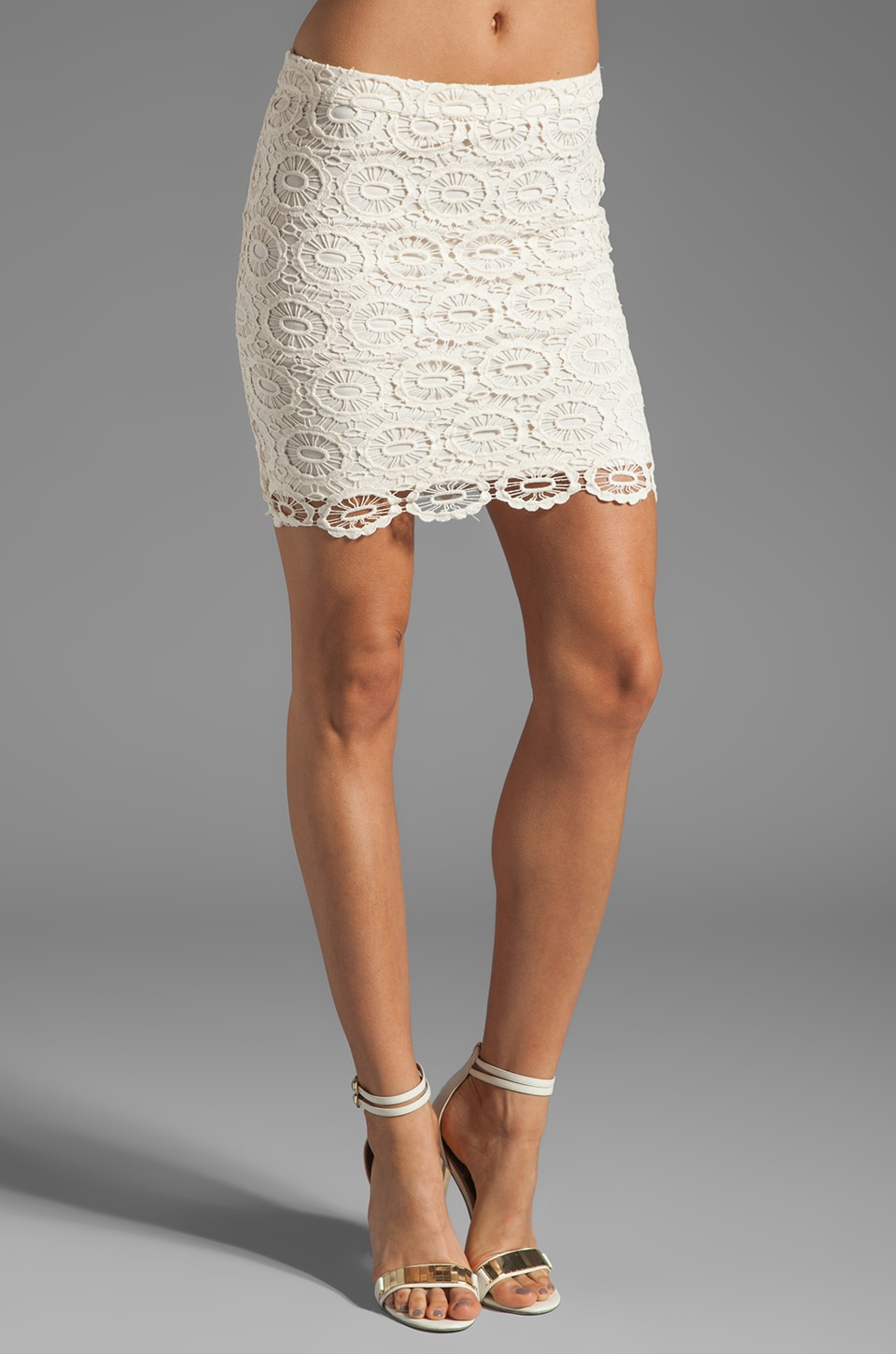 BB Dakota Williams Cotton Crochet Skirt in Ivory