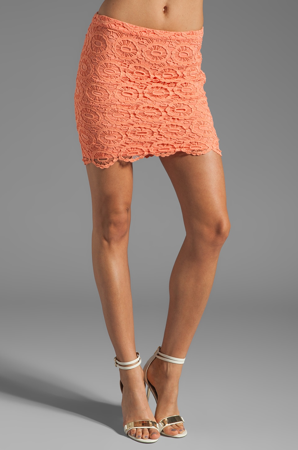 BB Dakota Williams Cotton Crochet Skirt in Fresh Peach