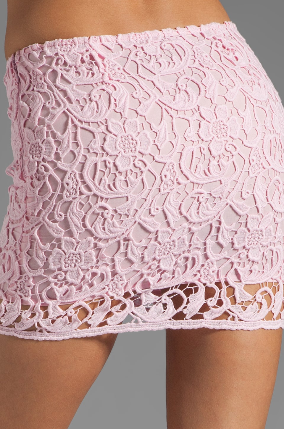 BB Dakota Sanford Lace Mini Skirt in Carnation