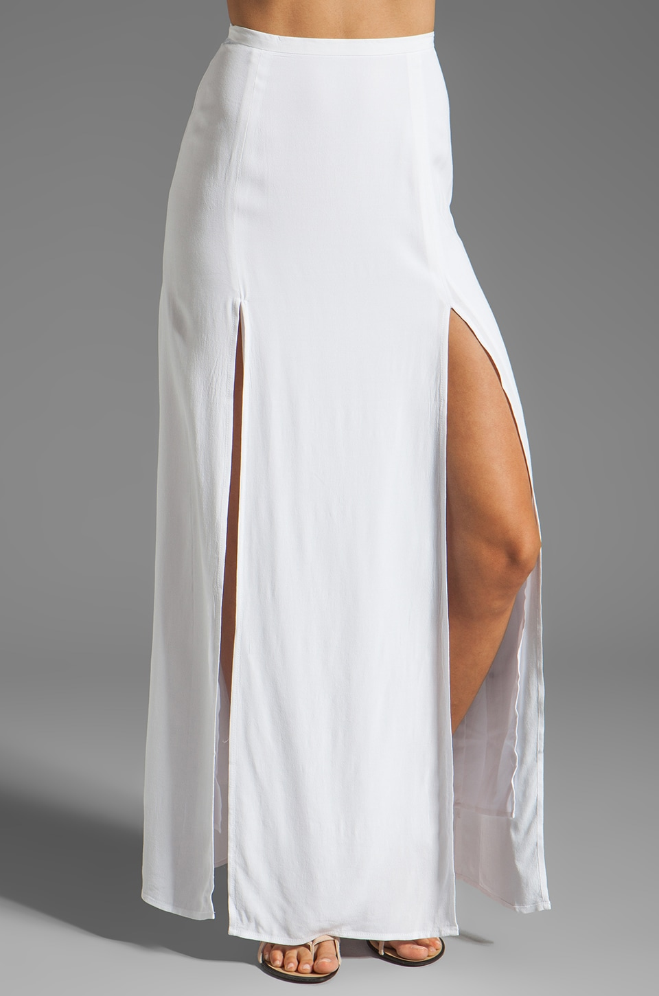 BB Dakota McKinley Hammered Fabric Slit Maxi Skirt in Optic White