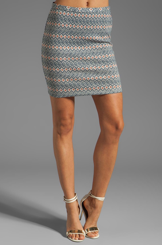 BB Dakota Bellfield Printed Ponte Skirt in Midnight Blue
