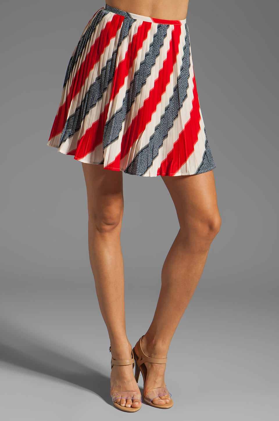 BB Dakota Dorene Stripe River Skirt in Midnight Blue/True Red