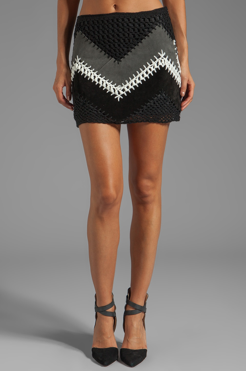 BB Dakota Cole Suede/Crochet A-Line Mini Skirt in Black