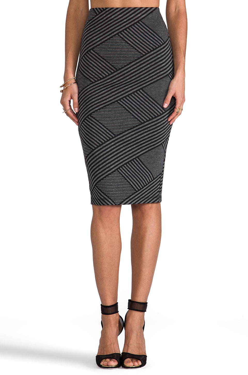 BB Dakota Caterina Stripe Pencil Skirt in Black