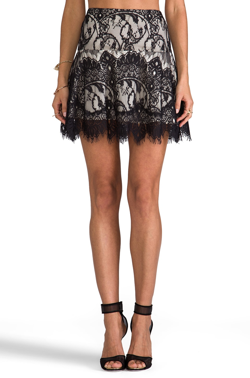 BB Dakota Theadora Scallop Lace Skater Skirt in Black