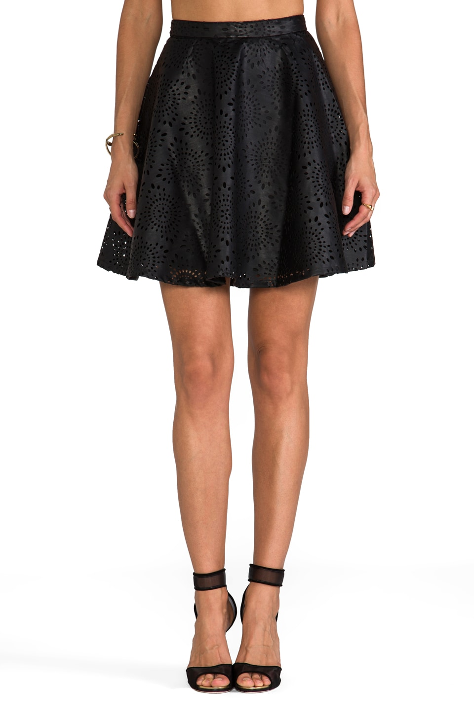 BB Dakota Brian Perforated Faux Leather Mini Skirt in Black