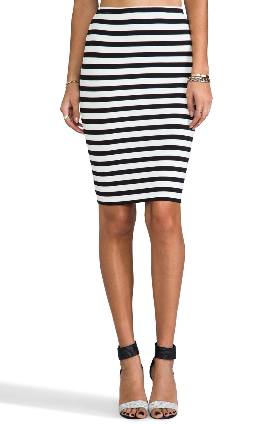 BB Dakota Yara Gatsby Stripe Pencil Skirt in Black & White
