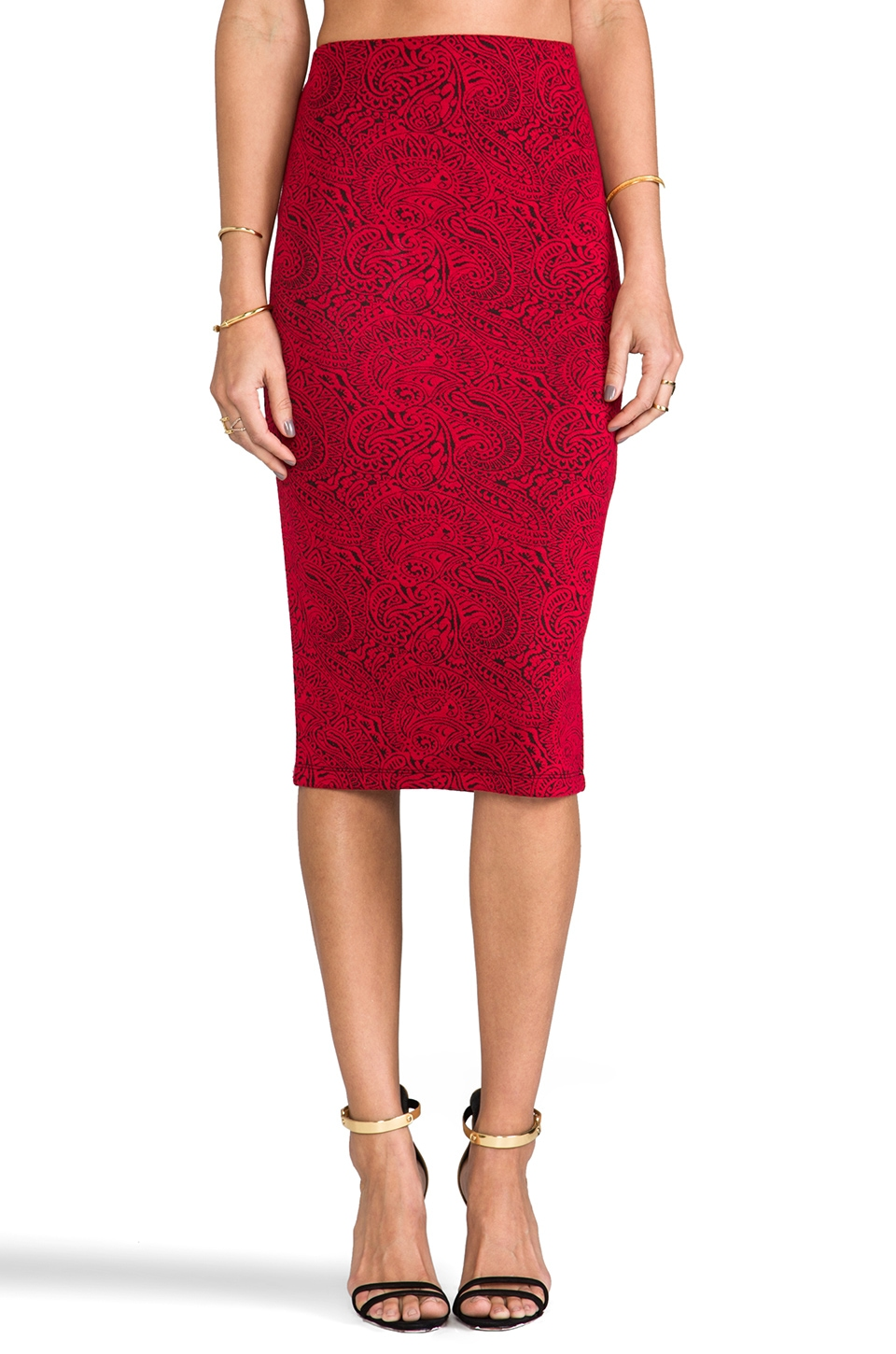 BB Dakota Convoy Paisley Brocade Ponte Skirt in Cardinal Red