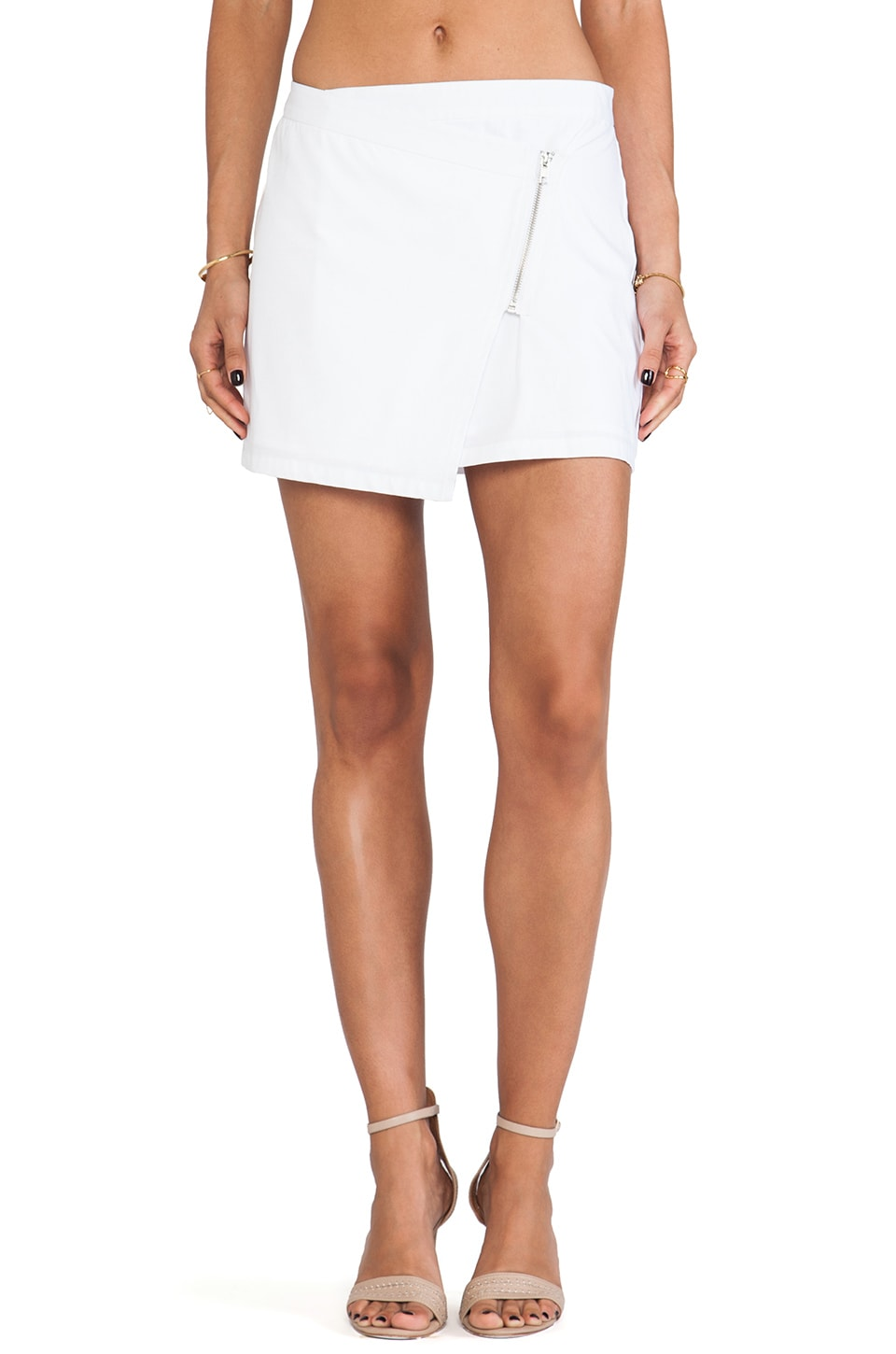BB Dakota Garnet Mini Zip Skirt in White