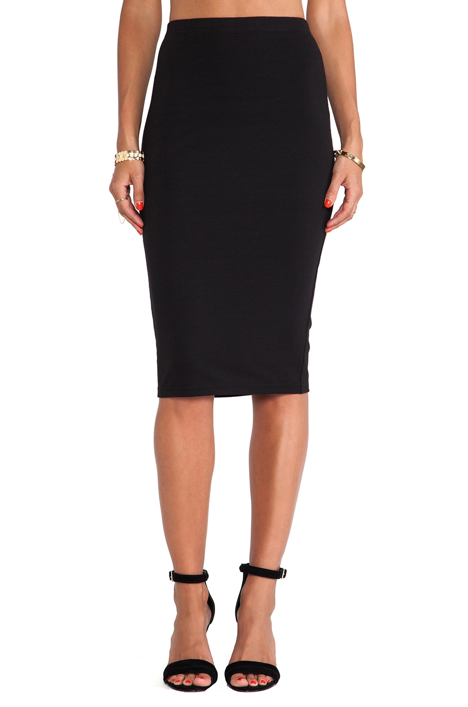 BB Dakota South Ponte Pencil Skirt in Black