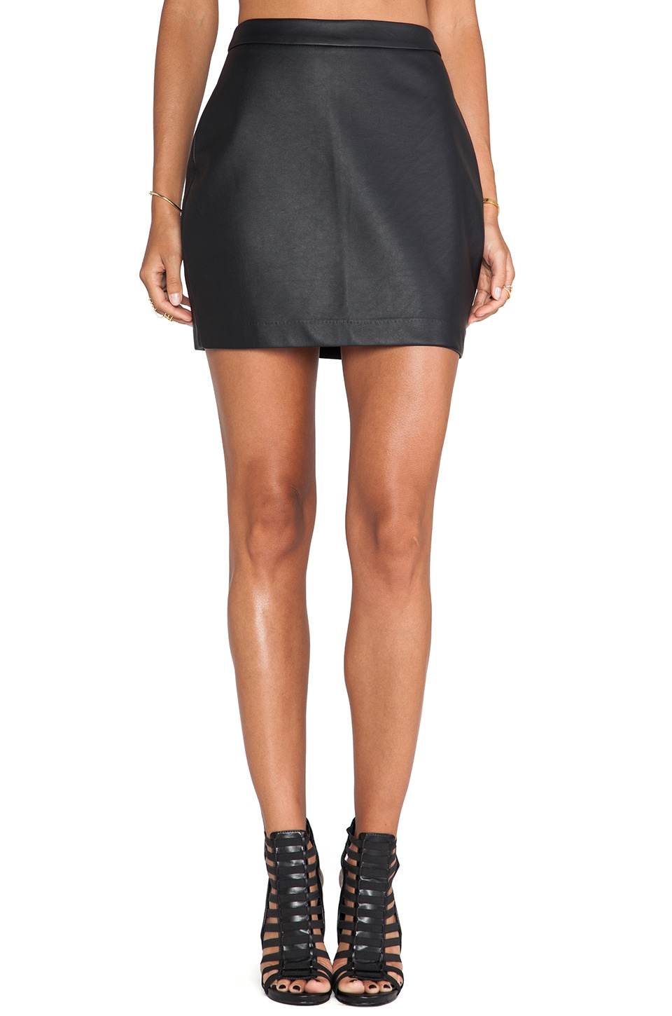 BB Dakota Fairley Faux Leather Skirt in Black