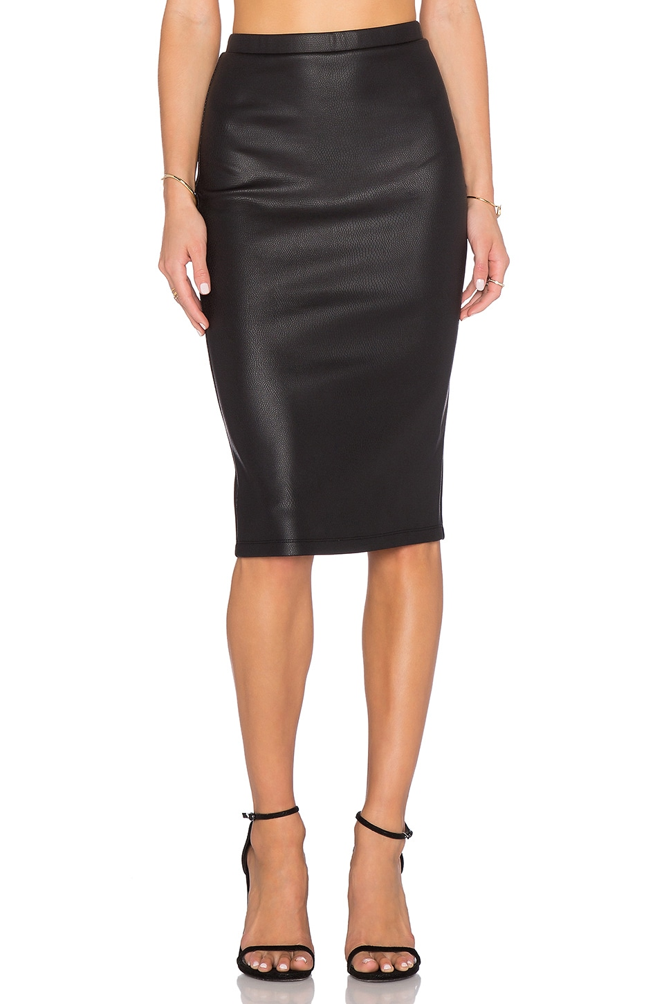 BB Dakota Kelan Snakeskin Pencil Skirt in Black