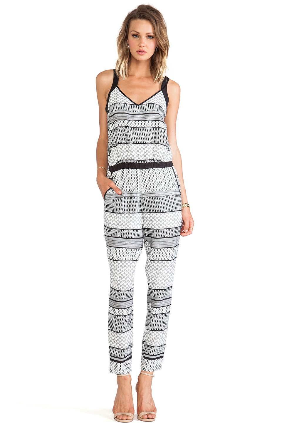 BB Dakota Holloway Striped Foulard Romper in Black & White