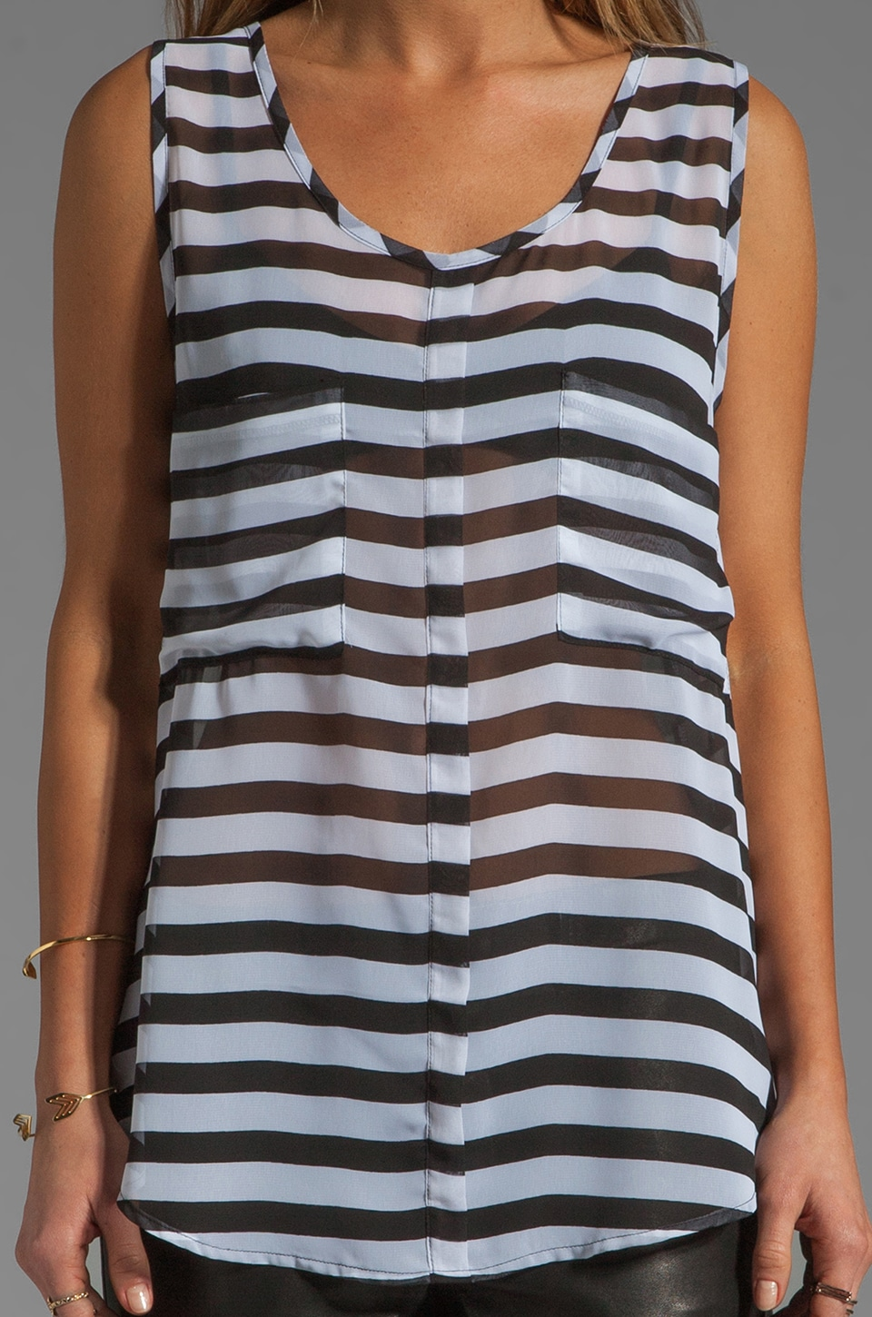 BB Dakota Kellyn Stripe CDC Tank in Black/Optic White