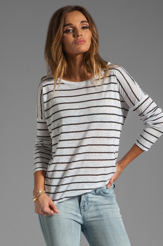 BB Dakota Callie Stripe Linen Jersey Top in Dirty White/Black