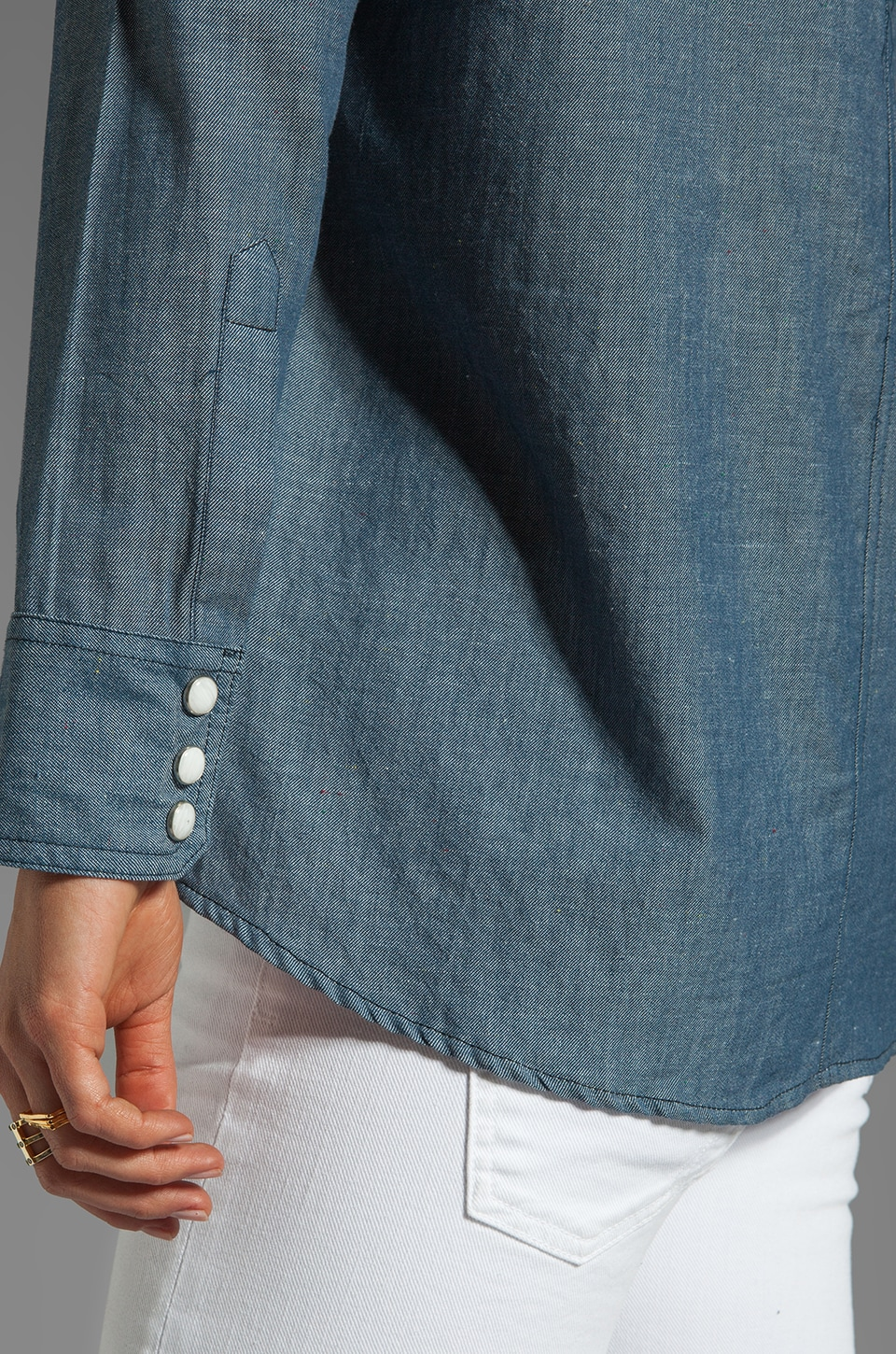 BB Dakota Saddie Dot Chambray Button Up in Med Blue