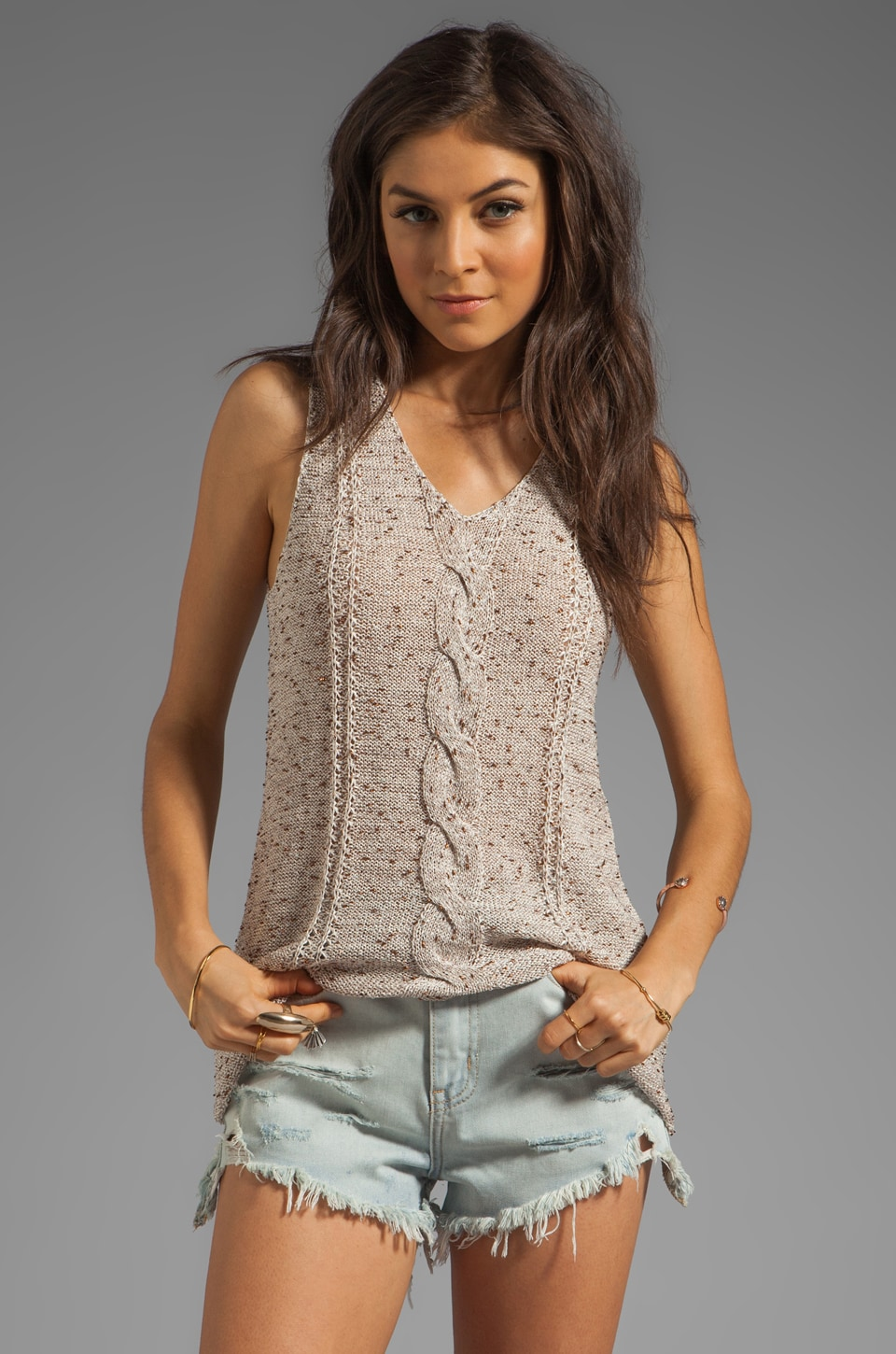 BB Dakota Valisa Sweater Knit Tank in Oatmeal