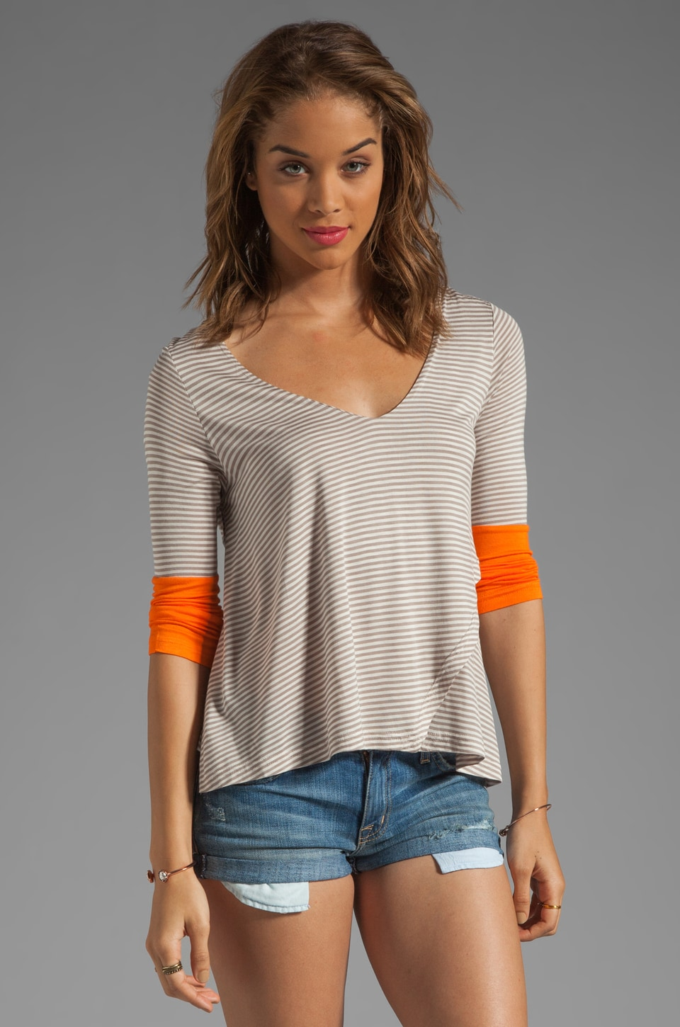 BB Dakota Jessie L/S Striped Shirt in Dark Khaki/Electric Orange