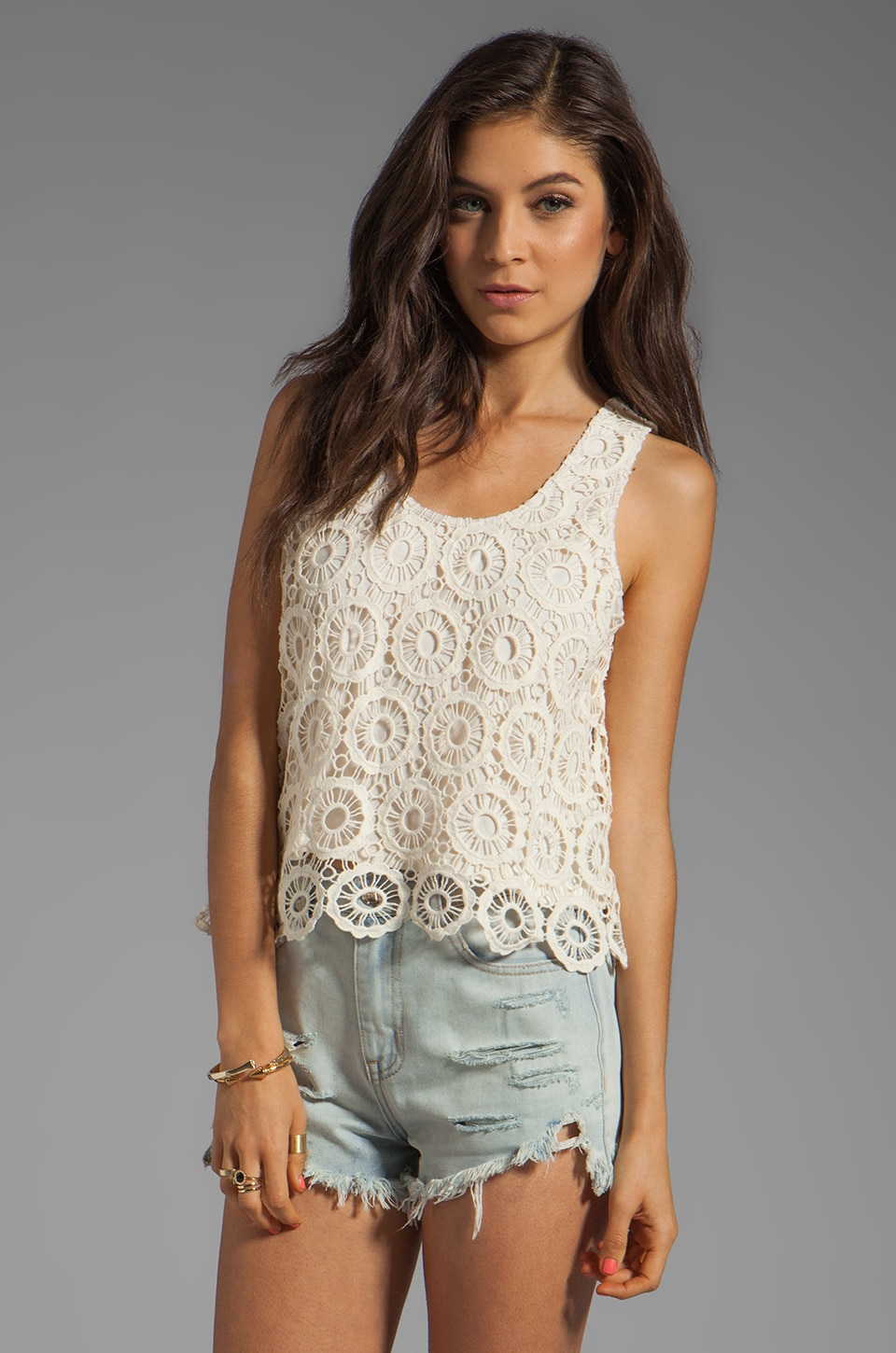 BB Dakota Covina Cotton Crochet Tank in Ivory