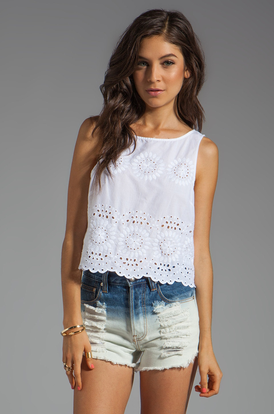 BB Dakota Margo Button Back Eyelet Tank in Optic White