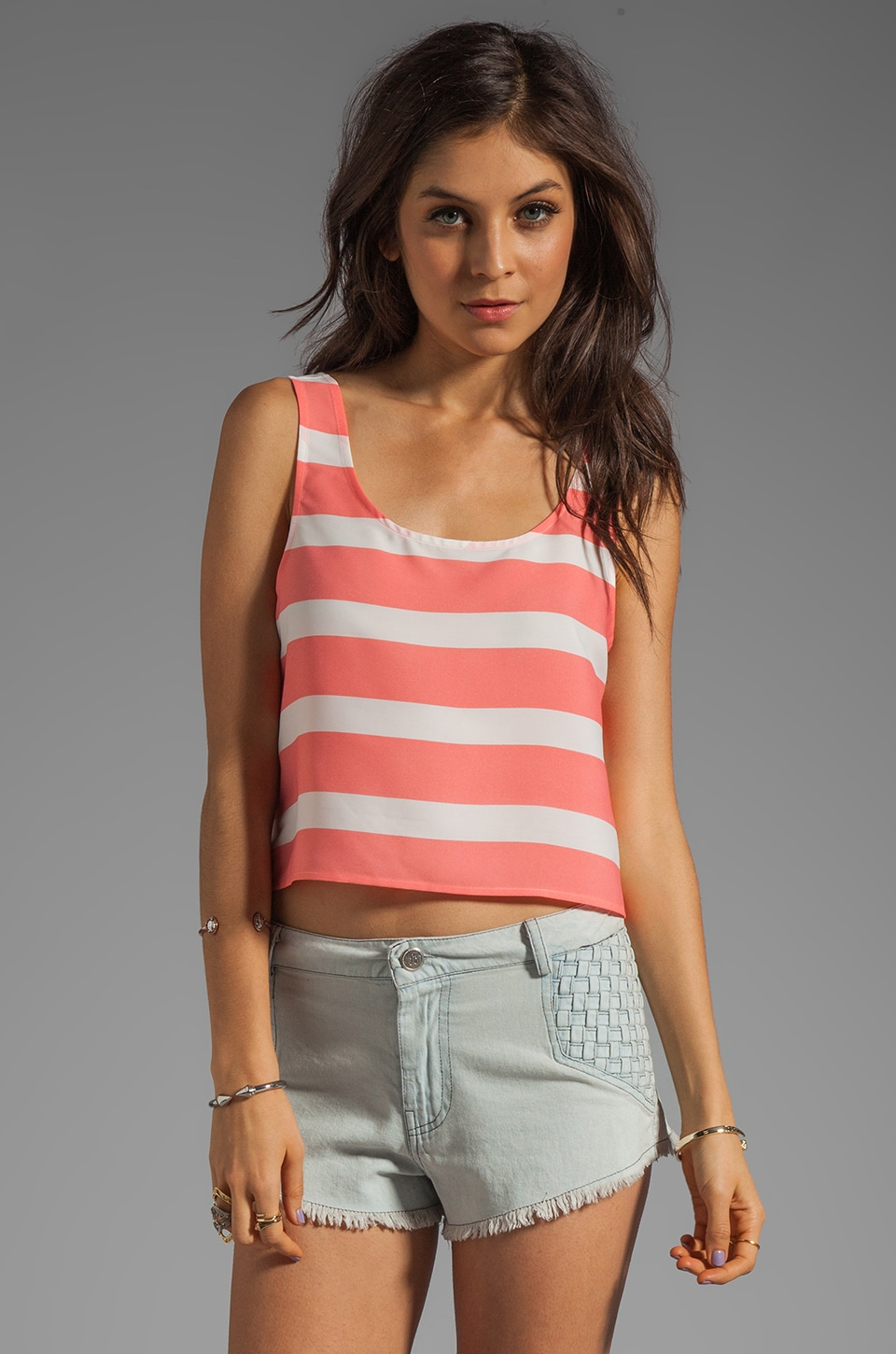 BB Dakota Woodruff Wide Stripe CDC Tank in Pink Lemonade
