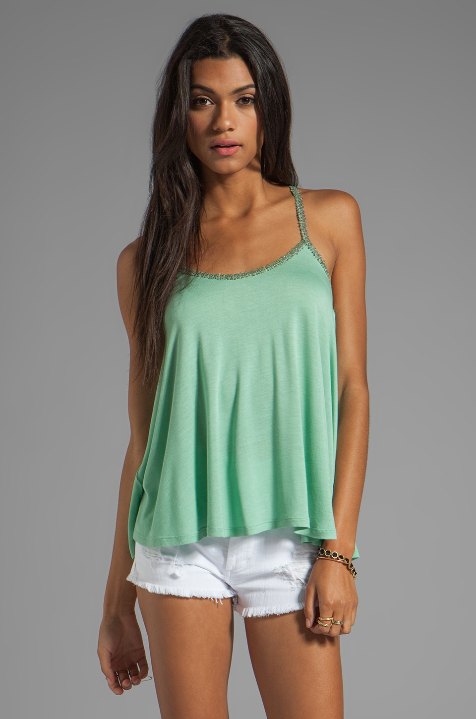 BB Dakota Bendita Sequin Strap Tank in Mint Julep