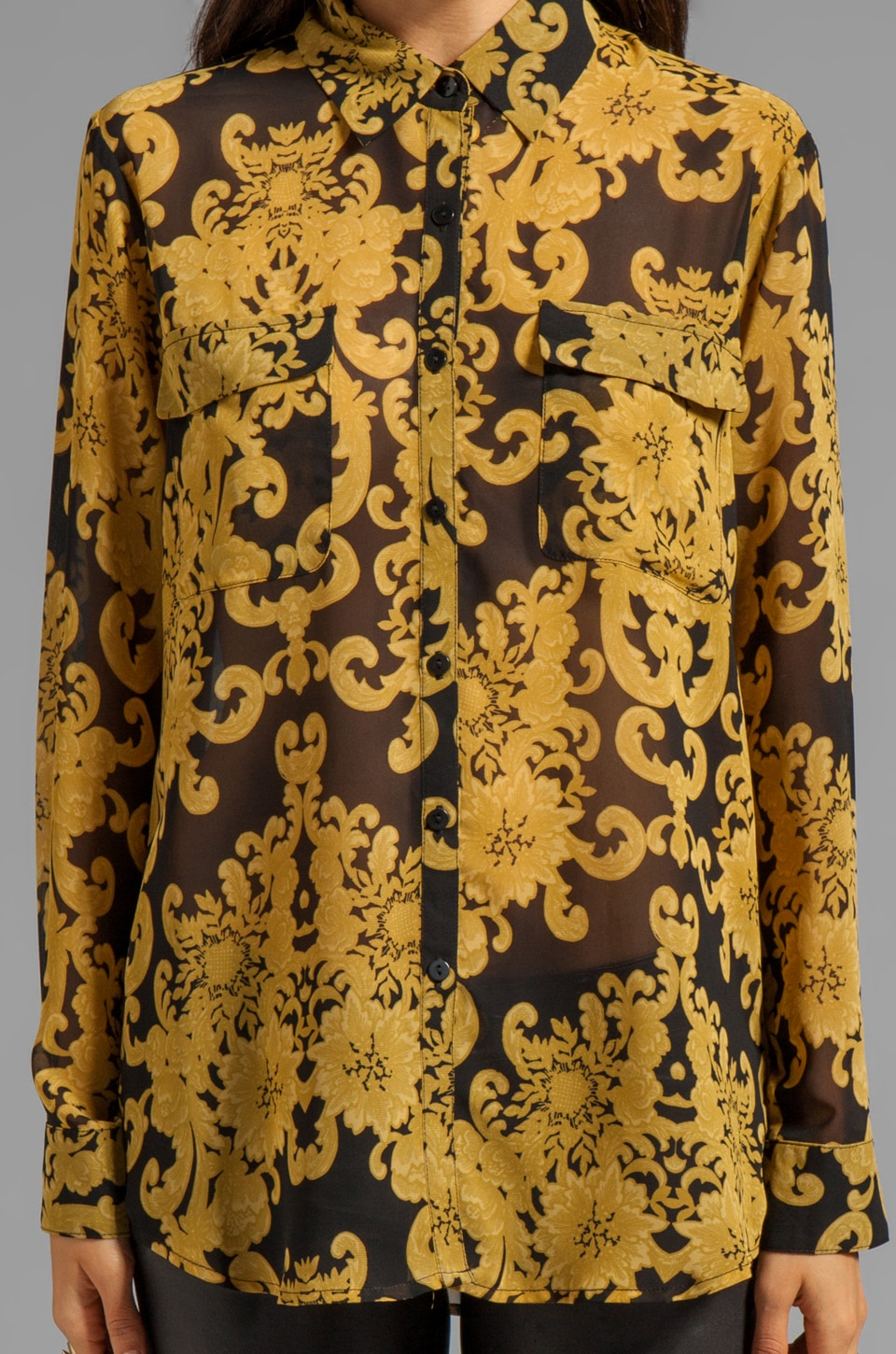 BB Dakota Edith Brocade Printed Chiffon Blouse in Black