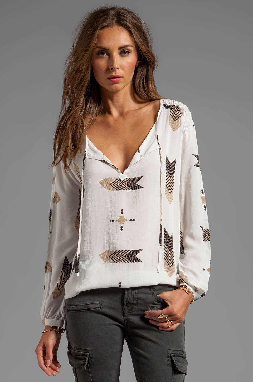 BB Dakota Jami Fletcher Printed Top in Dirty White
