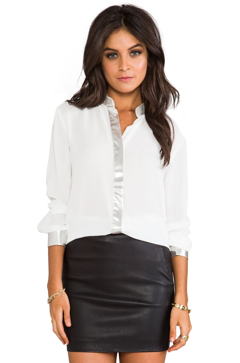 BB Dakota Wheeler Lame Trim Blouse in Dirty White