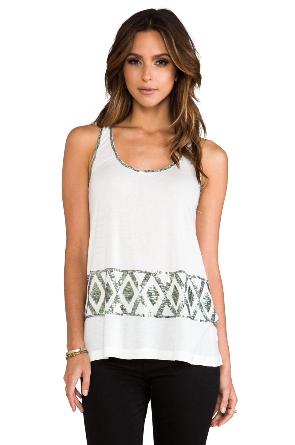BB Dakota Joy Sequin Tank in Dirty White