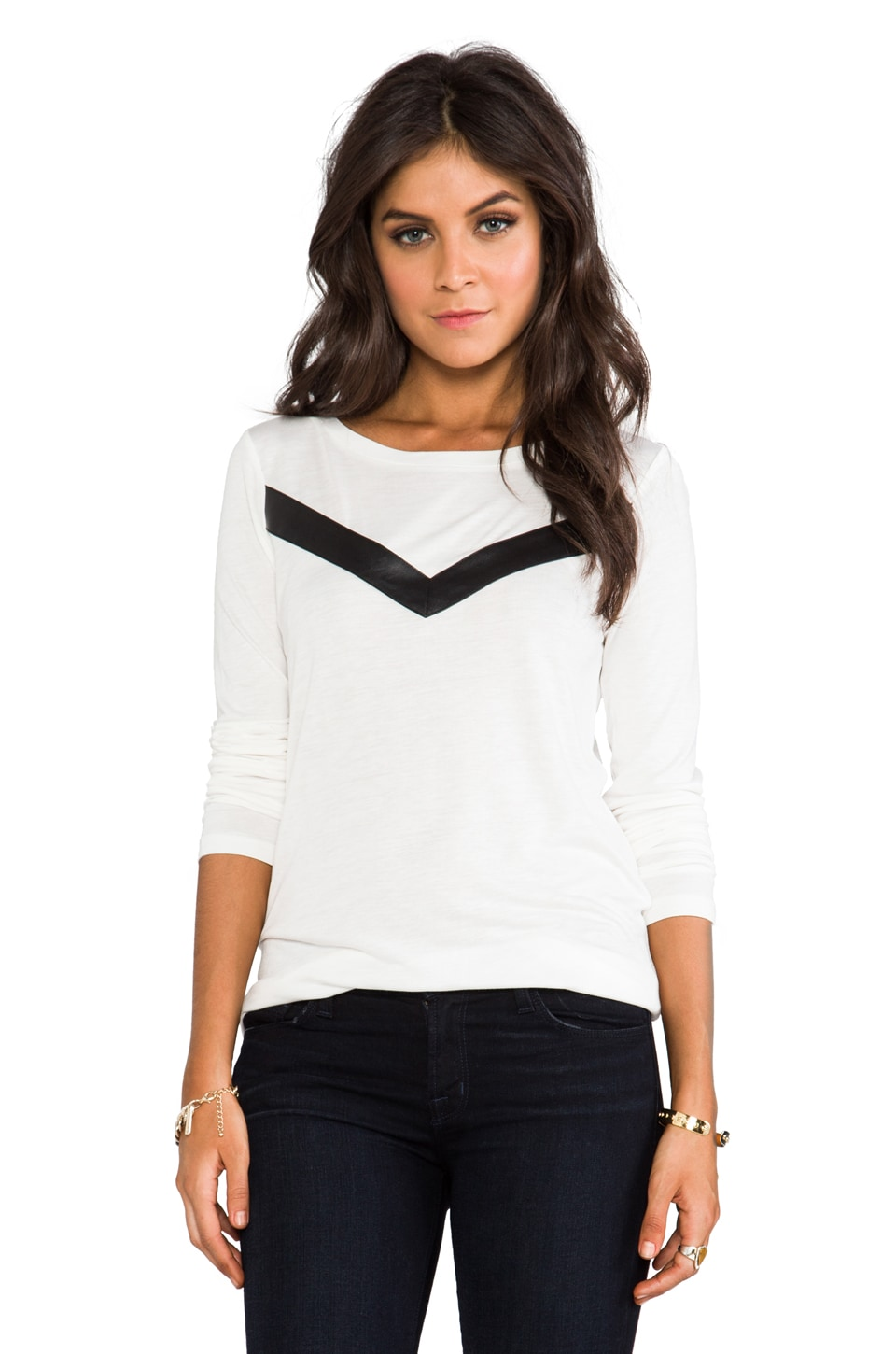 BB Dakota Deborah Long Sleeve Top w/ Faux Leather Insert in Dirty White
