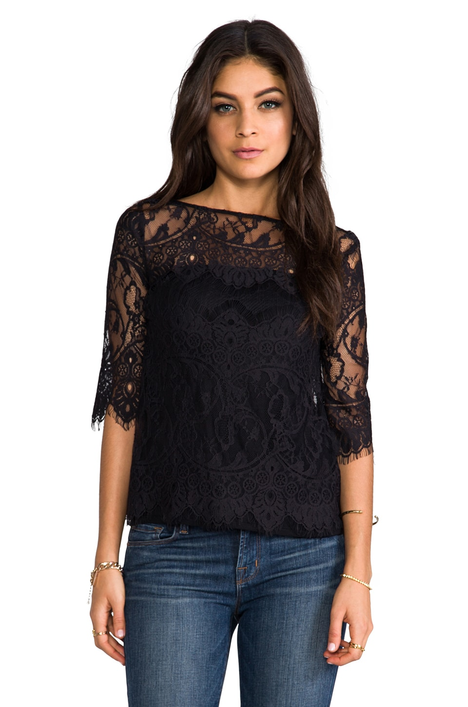 BB Dakota Josette Scallop Lace Top in Black