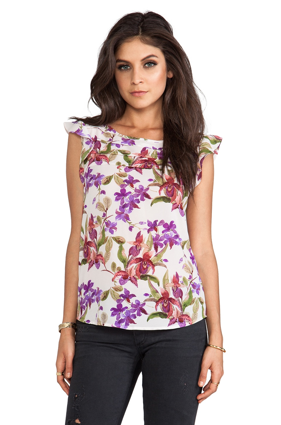 BB Dakota Jilles Orchid Printed Blouse in White Cap