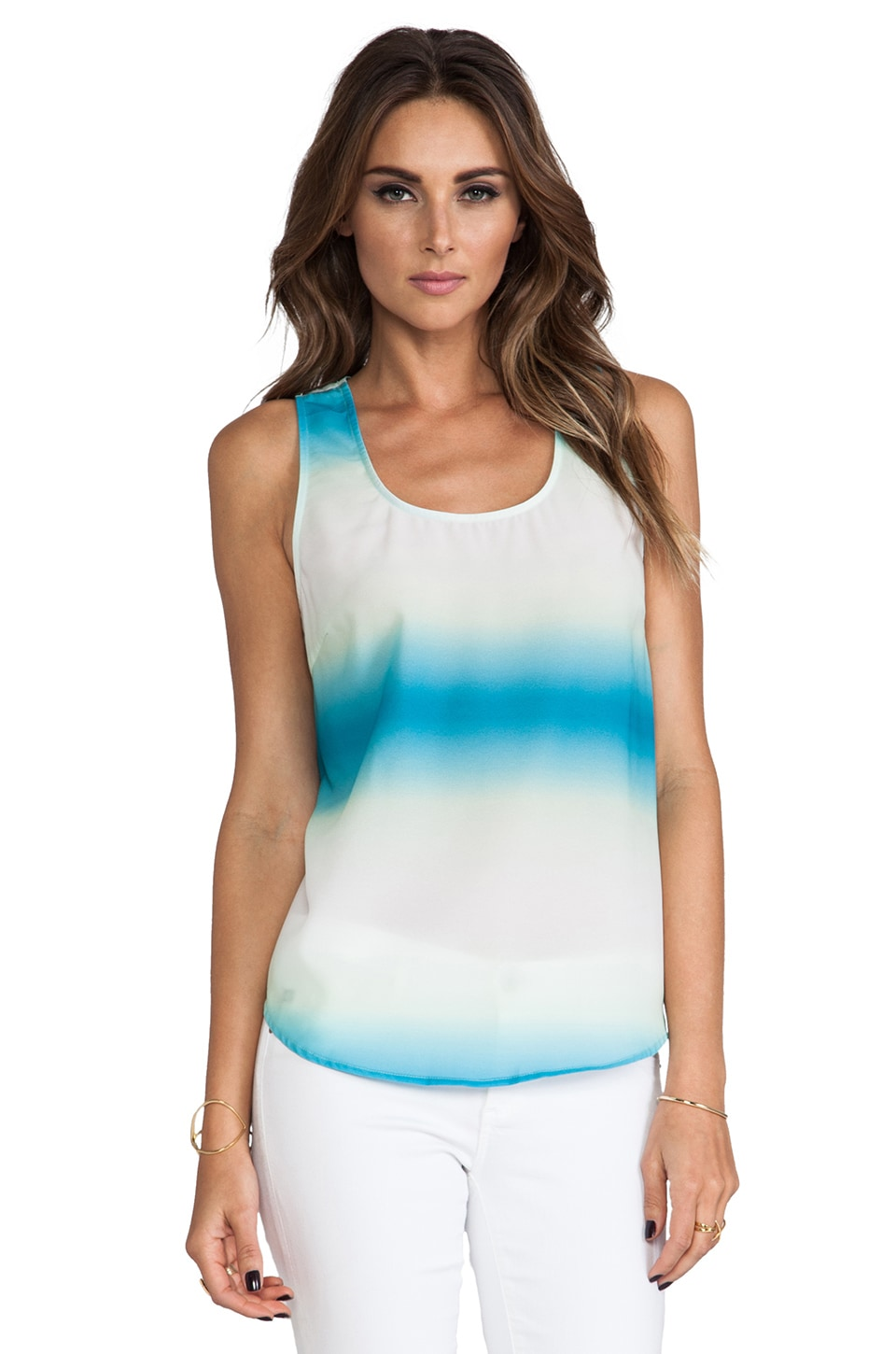 BB Dakota Brandan Horizon Printed Tank in Menthly Blue