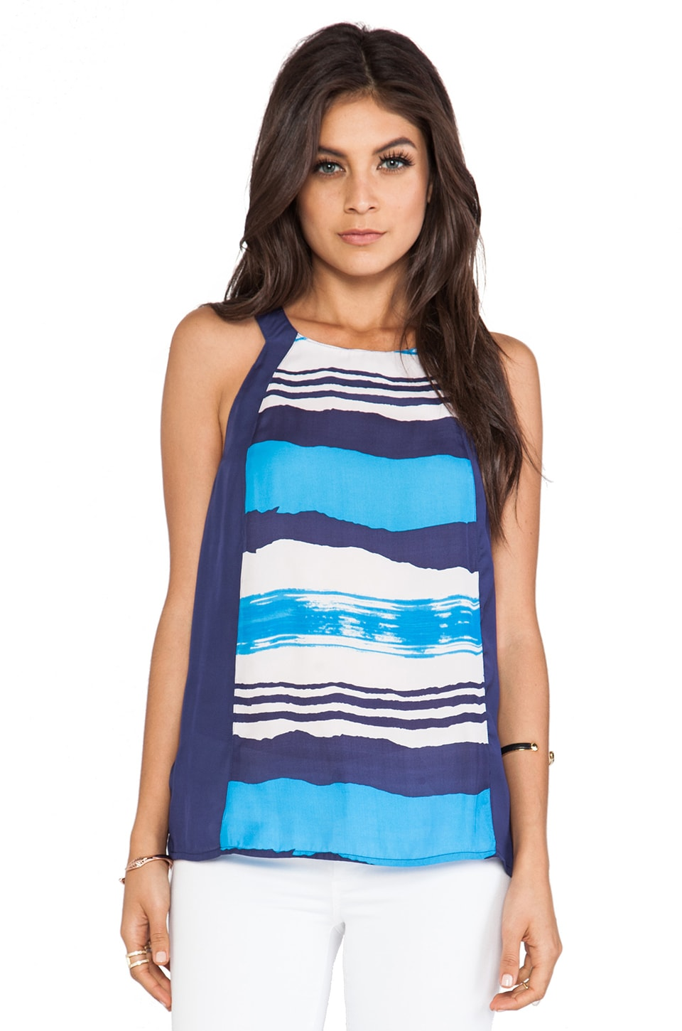 BB Dakota Azalea Wave Printed Tank in Midi Blue
