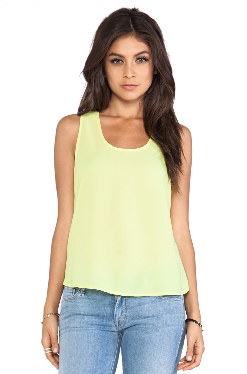 BB Dakota Leland Cut Out Tank in Limeade