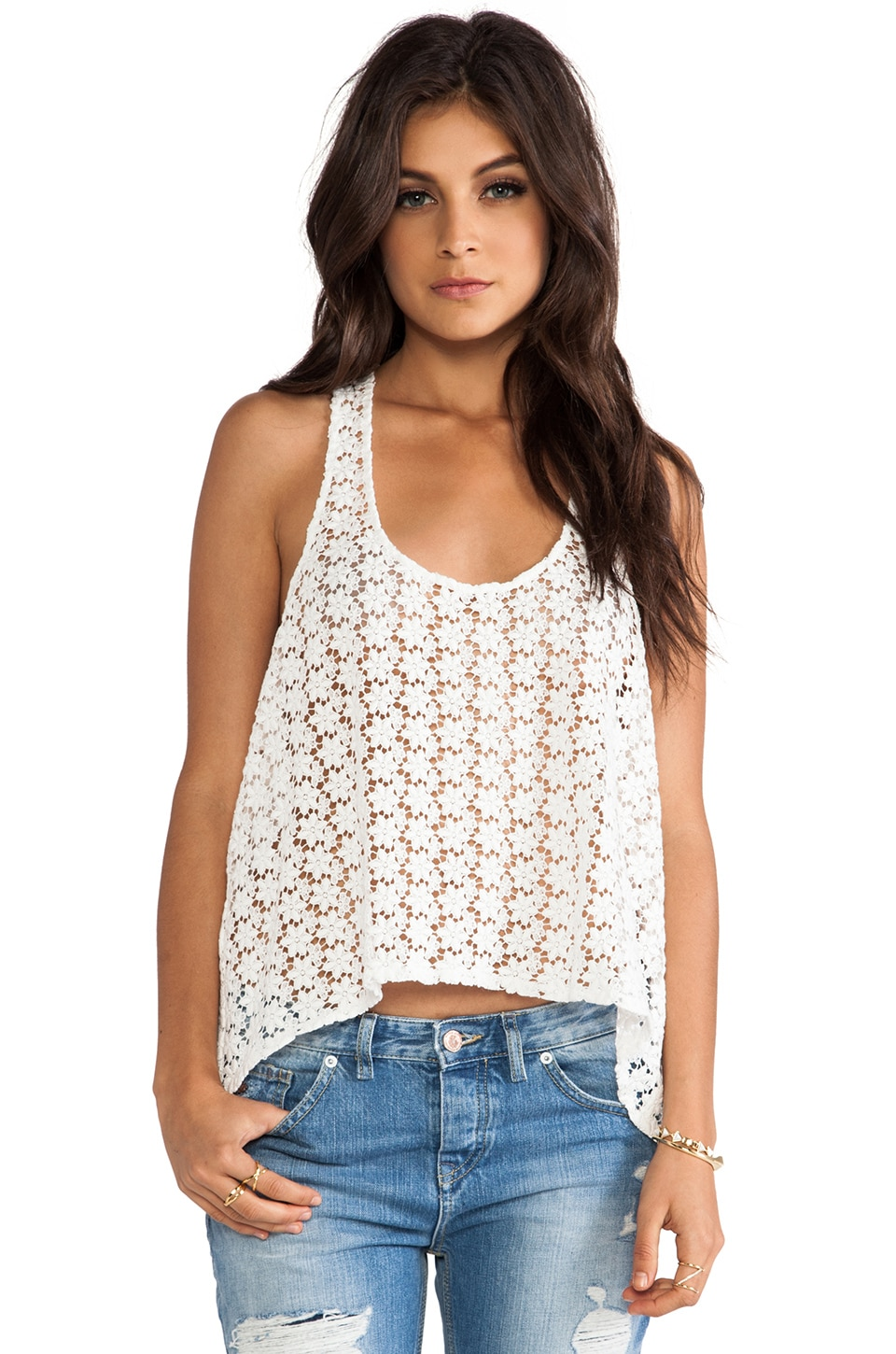 BB Dakota Aline Crochet Trapeze Tank in Ivory