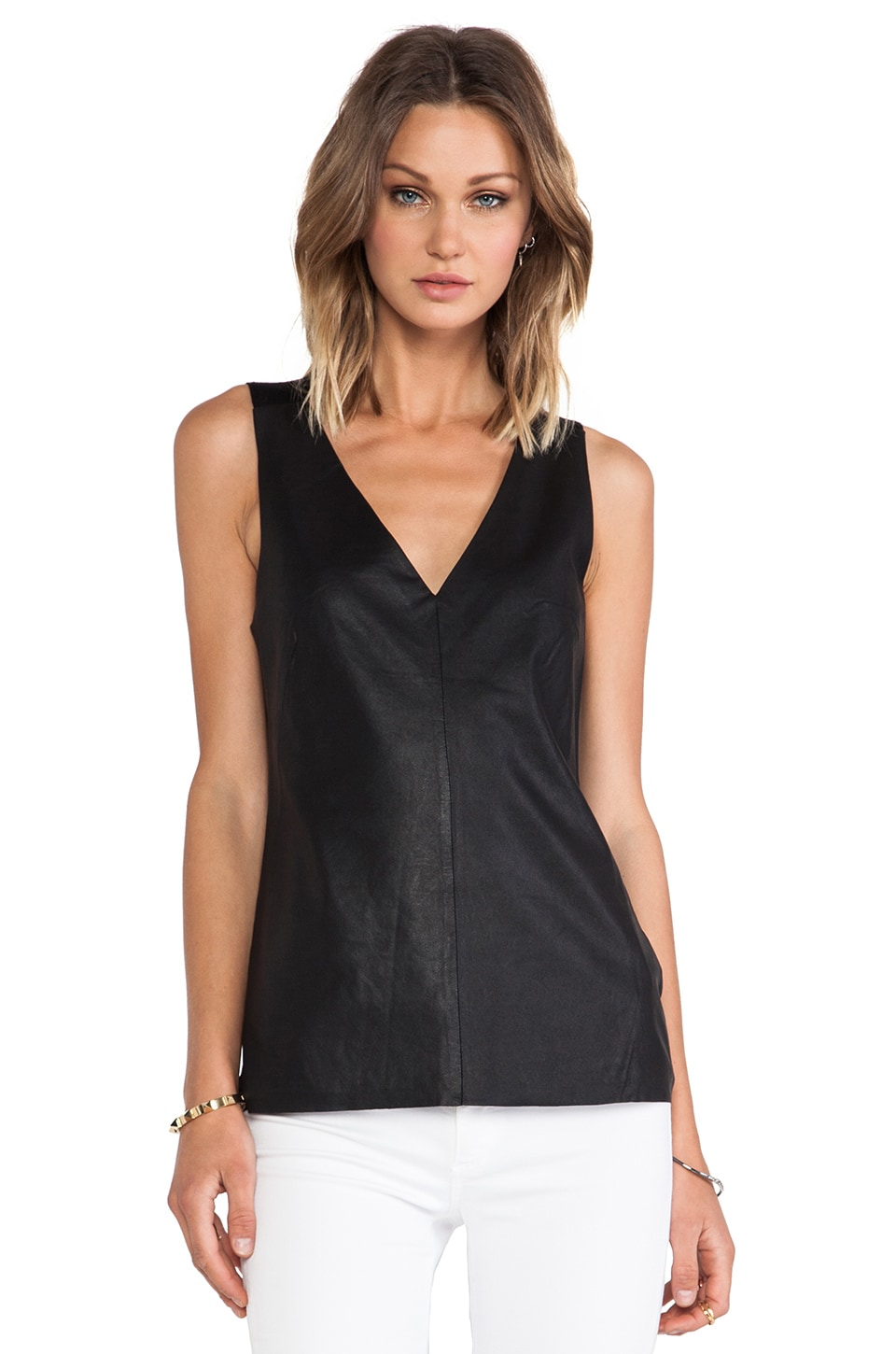 BB Dakota Lanis Leather Tank in Black