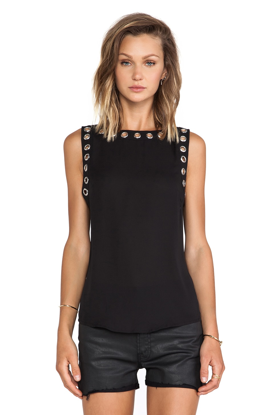BB Dakota Alessandra Metal Grommet Tank in Black