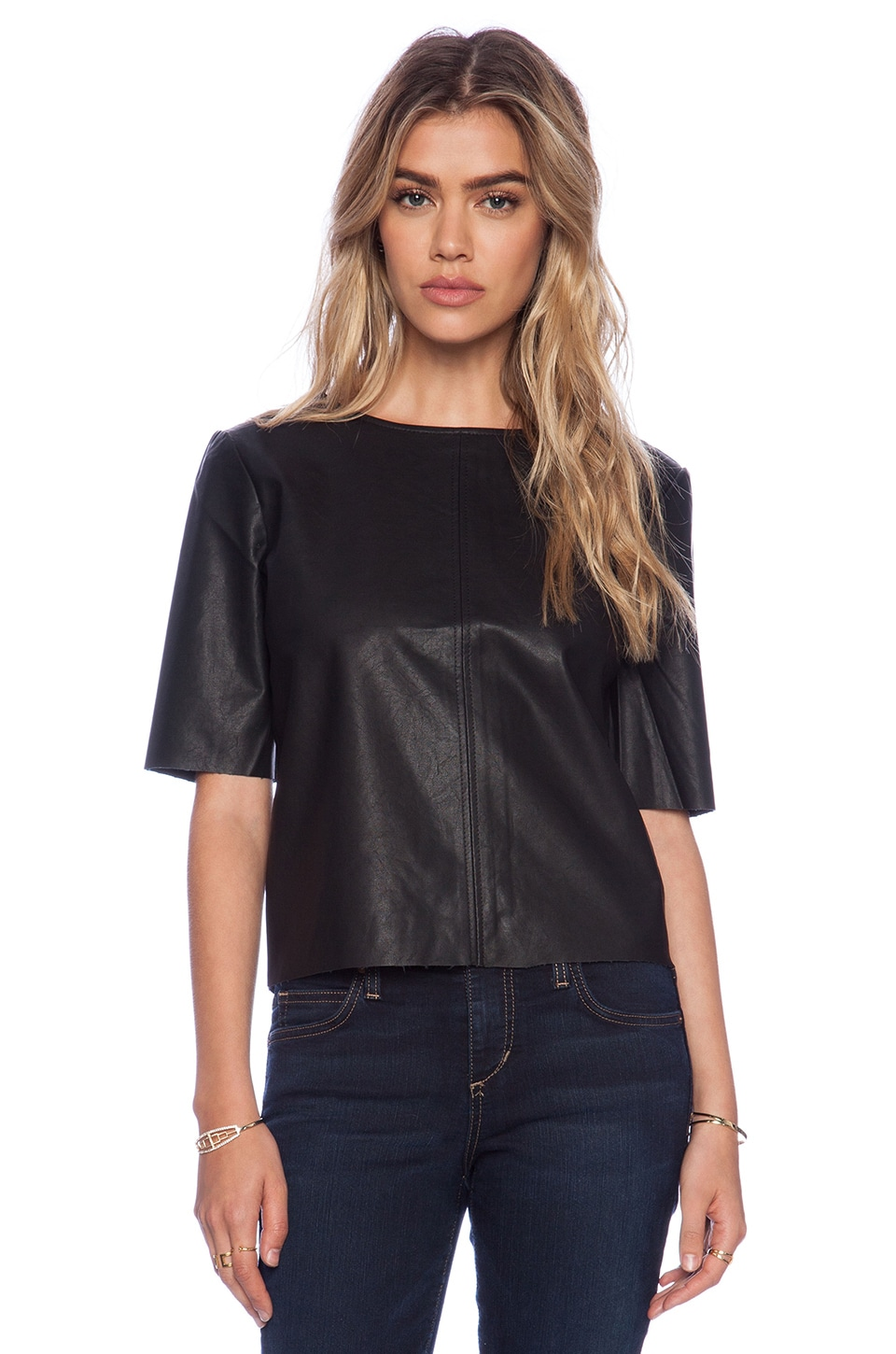 BB Dakota Pia Faux Leather Top in Black