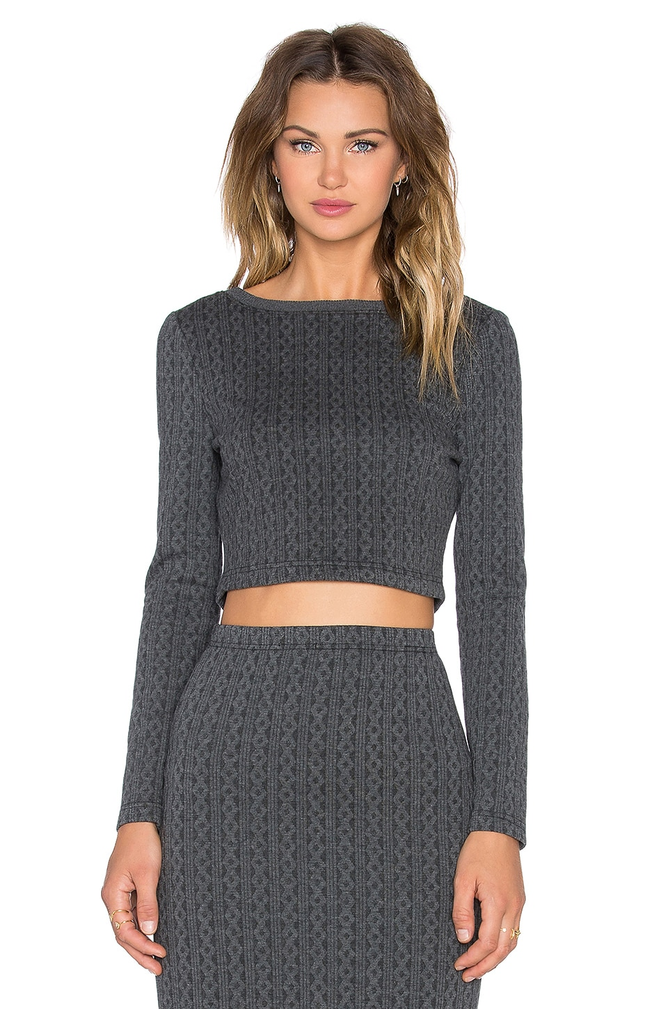 BB Dakota Jack by BB Dakota Crop Top in Charcoal Grey