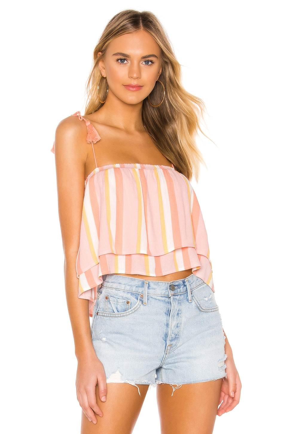 BB Dakota Tassels In The Sand Top in Pink Blossom