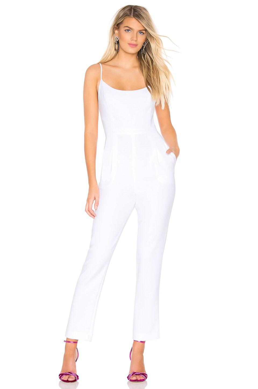 BCBGMAXAZRIA Woven Jumpsuit in Optic White